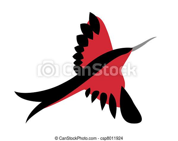 bird silhouette on white background - csp8011924
