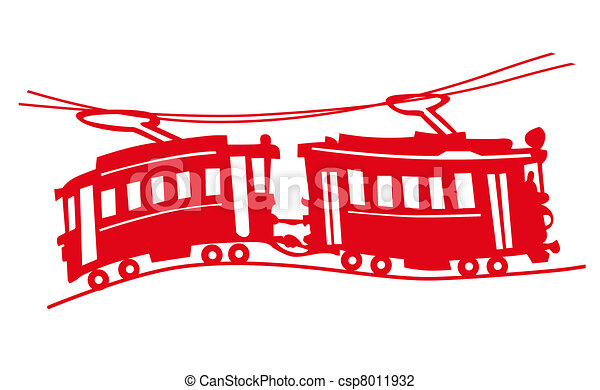 red tram on white background - csp8011932