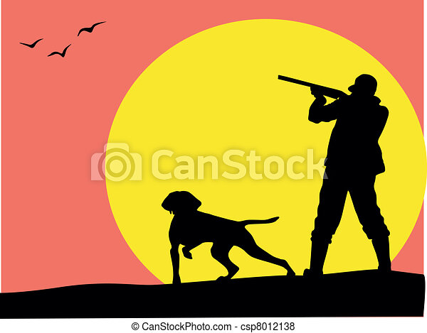 Hunter and dog silhouette, vector - csp8012138