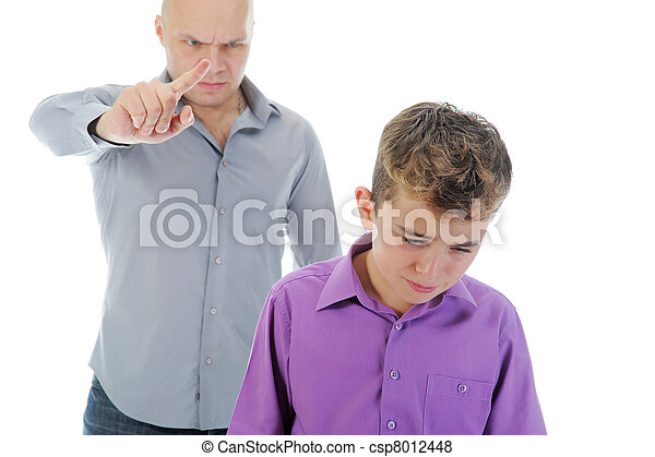 Strict father punishes his son - csp8012448