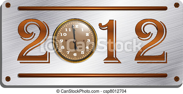 2012 on the metallic plate, steampu - csp8012704