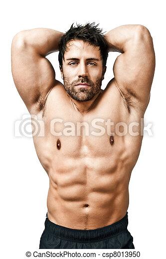 photographies de musculation homme une image beau jeune musculaire csp8013950. Black Bedroom Furniture Sets. Home Design Ideas