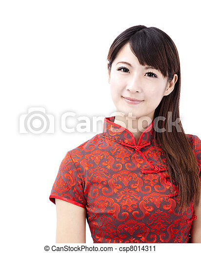 chinese young woman with tradition clothing - csp8014311