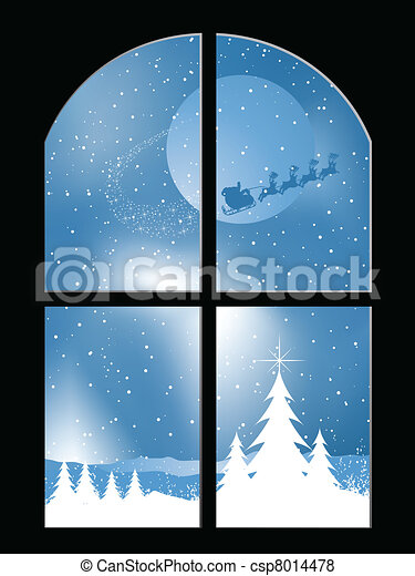 Snowy night through a window - csp8014478