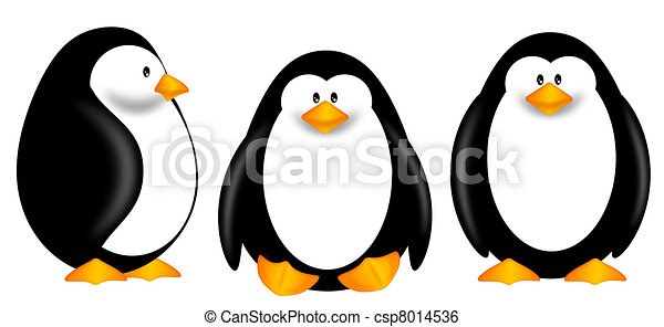 Cute Penguins Clipart Isolated on White Background - csp8014536