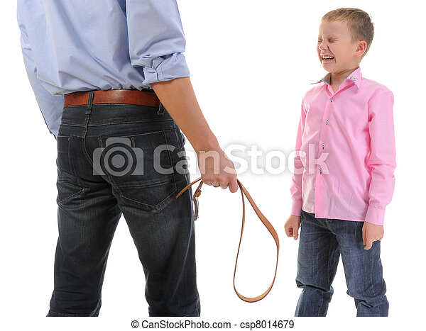 Strict father punishes his son - csp8014679