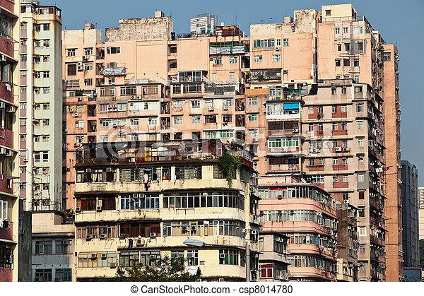 photographies de b timent hong appartement vieux kong vieux csp8014780 recherchez. Black Bedroom Furniture Sets. Home Design Ideas