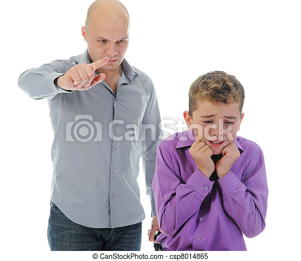 Strict father punishes his son - csp8014865