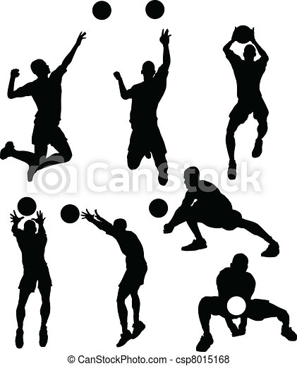 Volleyball Male Silhouettes in Athl - csp8015168