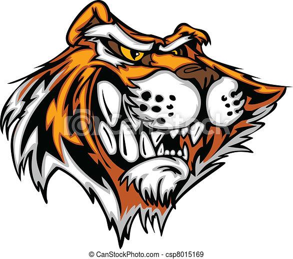 Cartoon Tiger Mascot Head Vector Il - csp8015169