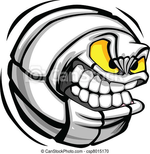 Volleyball Ball Face Cartoon Vector - csp8015170