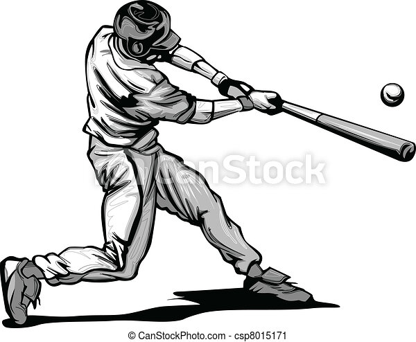 Baseball Batter Hitting Pitch Vecto - csp8015171