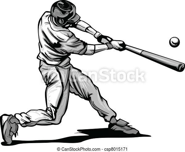 Baseball Batter Hitting Pitch Vecto - csp8015171