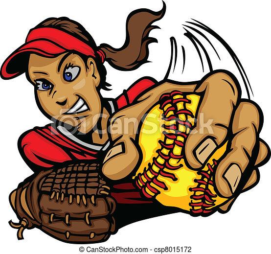 Fast Pitch Softball Pitcher Cartoon - csp8015172