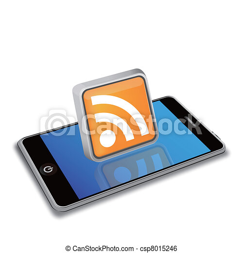 smart phone and RSS icon - csp8015246
