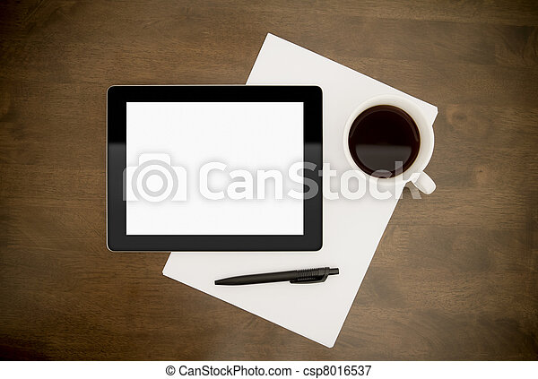 Workplace With Blank Digital Tablet - csp8016537