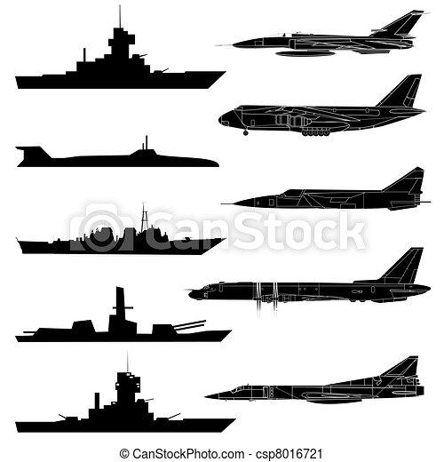A set of military aircraft, ships and submarines. - csp8016721