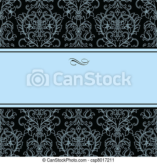 Vector Dotted Damask Pattern and Blue Frame - csp8017211