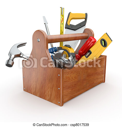 Toolbox with tools. Skrewdriver, hammer, handsaw and wrench - csp8017539