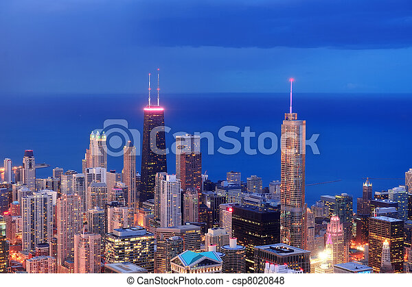 Chicago aerial view at dusk - csp8020848