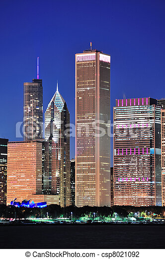 Chicago skyline at dusk - csp8021092