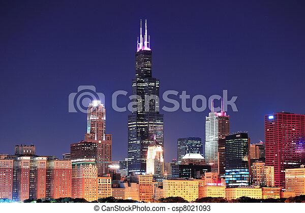 Chicago skyline at dusk - csp8021093