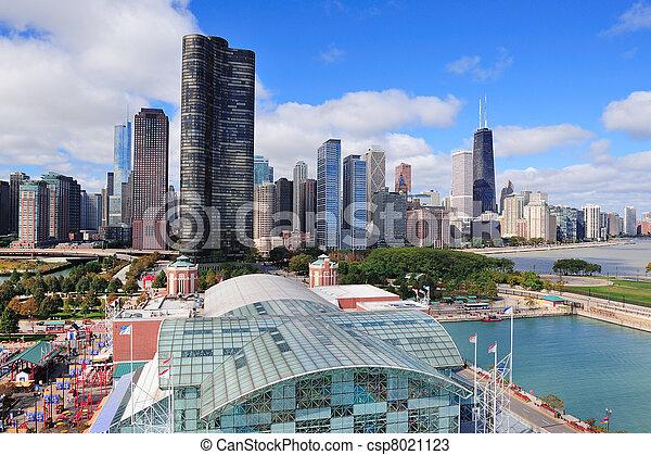 centro cidade, cidade,  Chicago - csp8021123