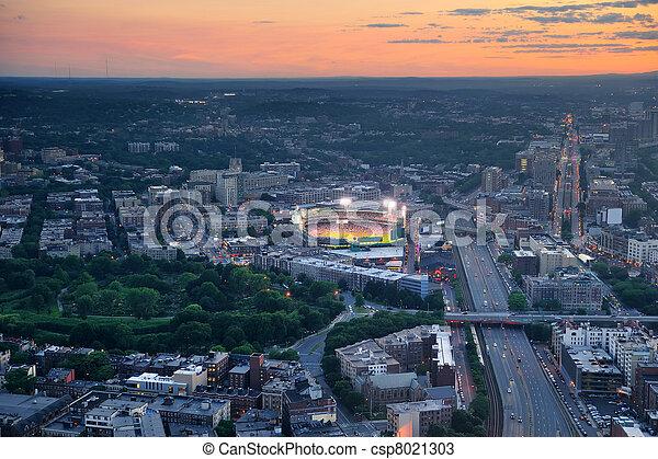 Boston aerial view at sunset - csp8021303