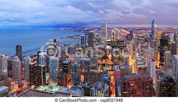 Chicago skyline panorama aerial view - csp8021948