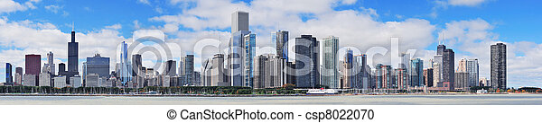 cidade,  Skyline,  Chicago, urbano,  panorama - csp8022070