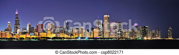 Chicago night panorama - csp8022171
