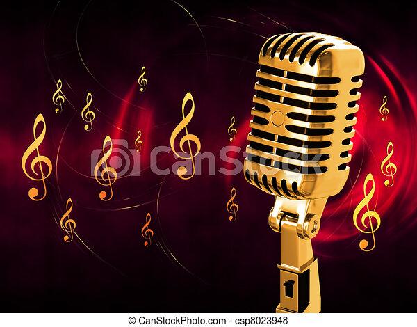 Stock Illustratie van ouderwetse, microfoon, achtergrond ...