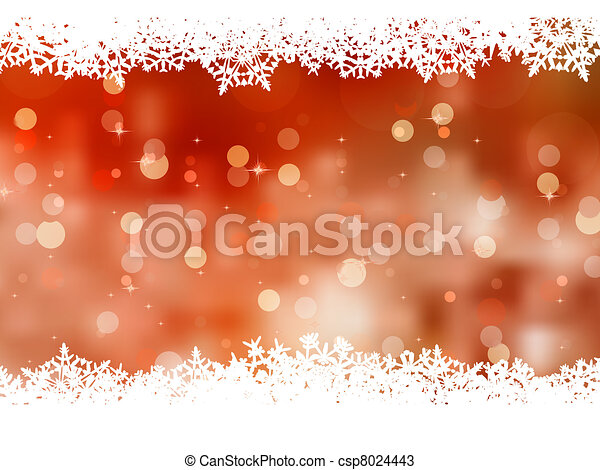 Orange background with snowflakes. EPS 8 - csp8024443