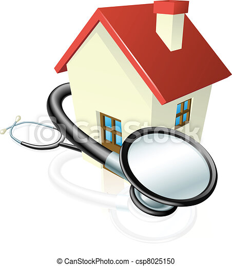 House and stethoscope concept - csp8025150