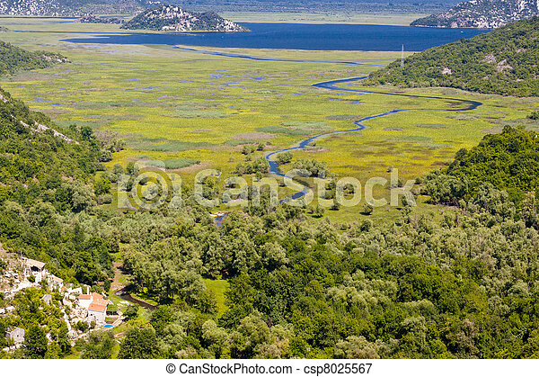 River and Skadarsko lake. Montenegro - csp8025567