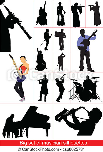 Big set of musicians silhouettes. - csp8025731