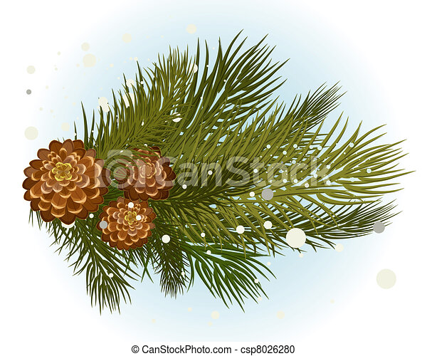 pine branch with cone - csp8026280