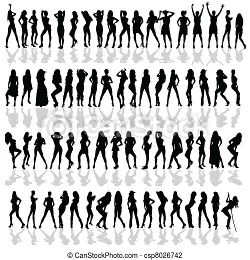 girl in various poses black vector silhouette - csp8026742