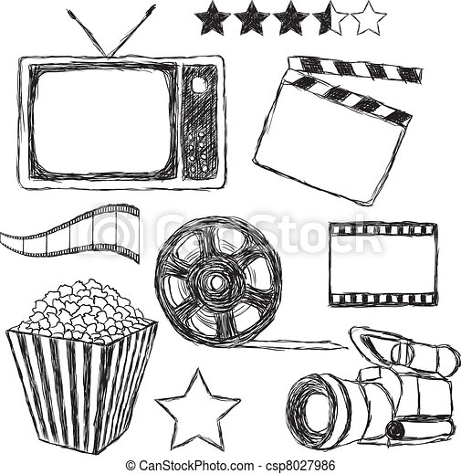movie doodle collection - csp8027986