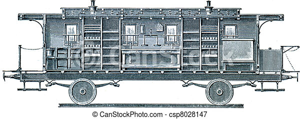 Military sanitation. Wagon kitchen, party hosts table  - csp8028147