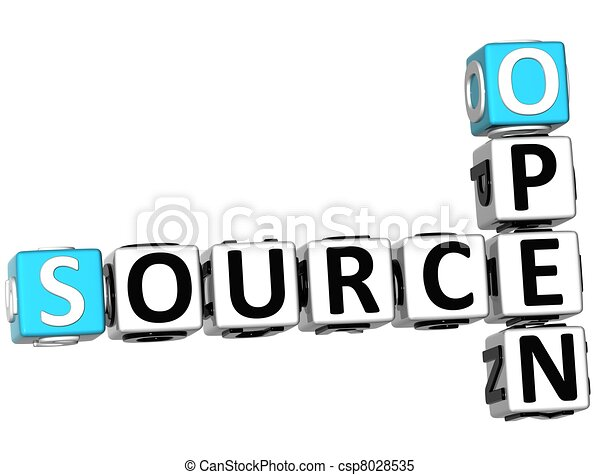 Stock Illustrations Of 3d Source Open Crossword On White