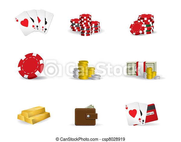 Gambling - poker icon set - csp8028919