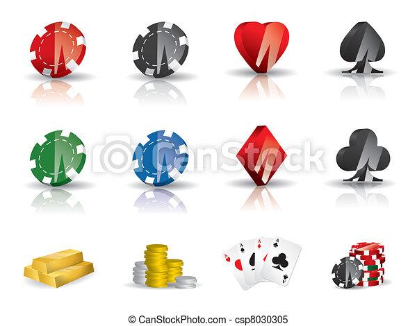 Gambling - poker icon set - csp8030305