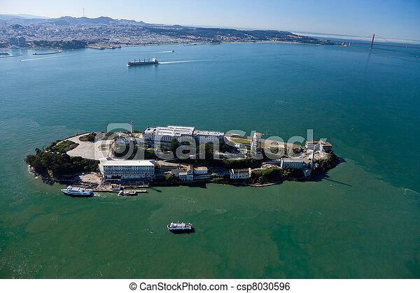 Stock Image of Alcatraz jail in San Francisco bay aerial ...
