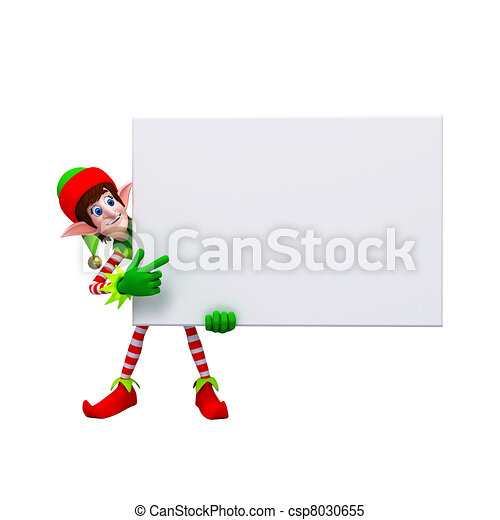 Naughty Elves with signboard. - csp8030655