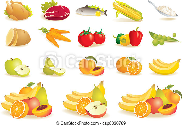 Fruit, vegetables, meat, corn icons - csp8030769