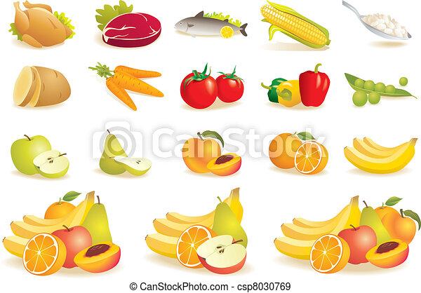 Fruit, vegetables, meat, corn icons - csp8030769