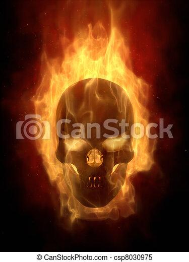 Burning skull in hot flame - csp8030975