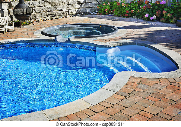 Swimming pool with hot tub - csp8031311