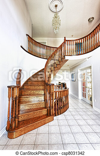 Entrance hall with staircase - csp8031342